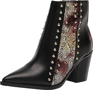 حذاء برقبة للكاحل للنساء What3 من NINE WEST, (جلد ثعبان أسود/أسود + ذهبي), 38 EU