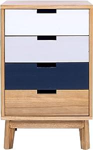 Mobili Rebecca® Comodino Cassettiera Marrone 4 Cassetti Stile Moderno Legno Soggiorno Bagno Arredo Casa (cod. RE4996)