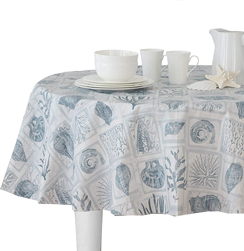 Elrene Home Fashions Coral Core Stain Resistant Vinyl Tablecloth 70 Round Blue Cream