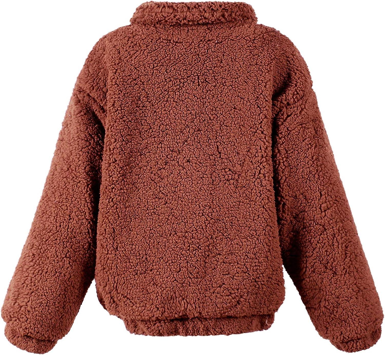 LAEMILIA Damen Mantel Jacke Plüsch Winter Stepp Warmen Oversize Boyfriend Outwear Cardigan Lange Ärmel Einfarbig Parka Brown