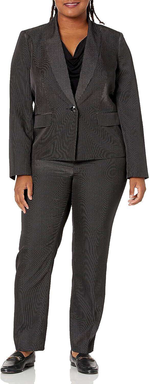 Le Suit Women's Plus Size 1 Button Mini Pinstripe Slim Pant Suit