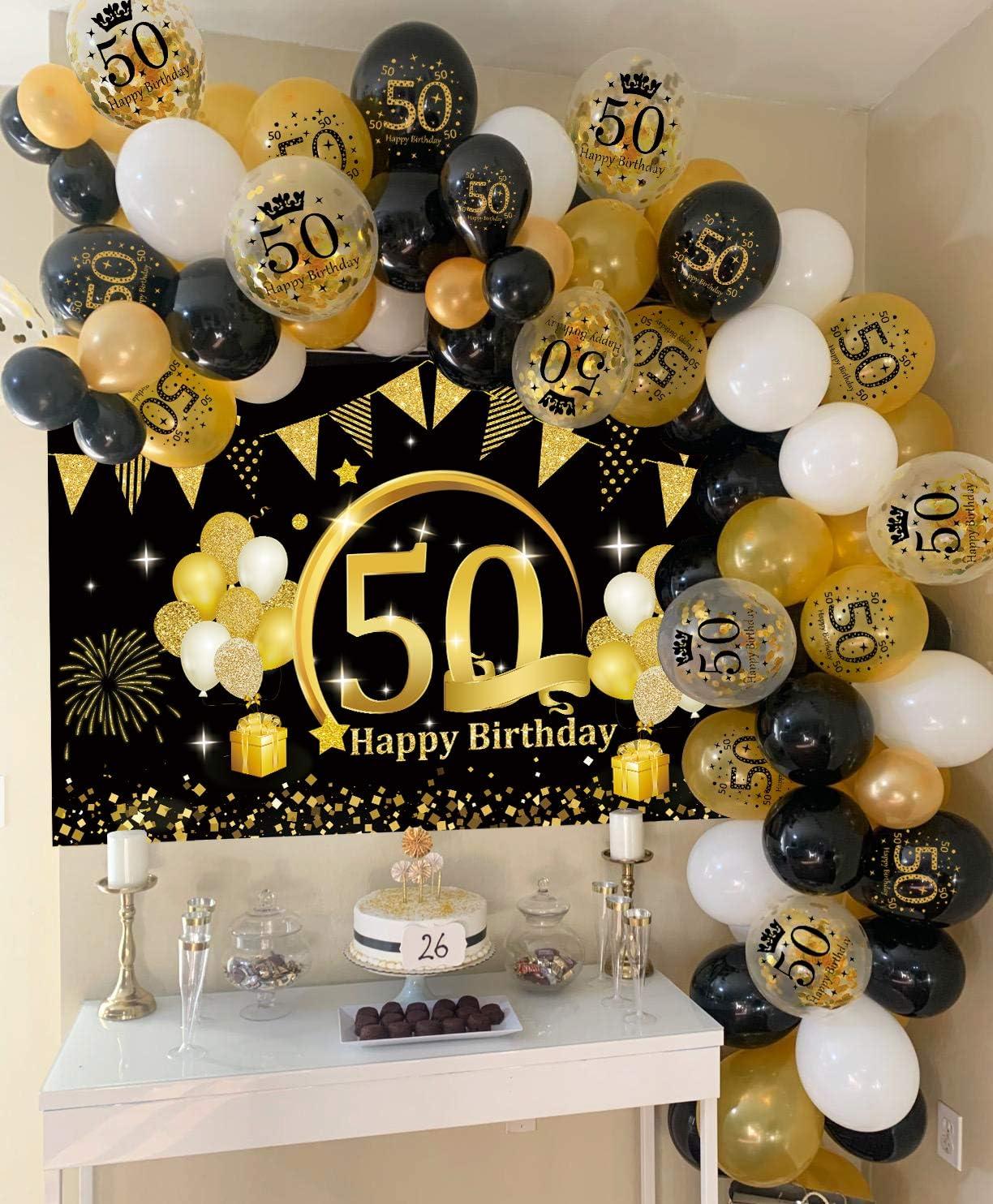 APERIL 40 Geburtstag Dekoration Schwarz Gold 40 Geburtstag Party Dekor f/ür Frau Mann Geburtstagsdeko Gro/ße Stoff Schild Poster zum 40 Luftballons Schwarz Gold 40 Jahrestag Hintergrund Banner 40