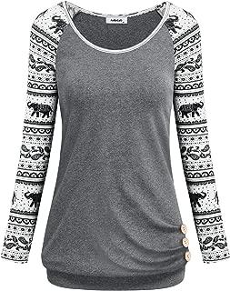 Women's Long Raglan Sleeve Round Neck Elephant Printed Button Sweatshirts Tunic Blouses Tops