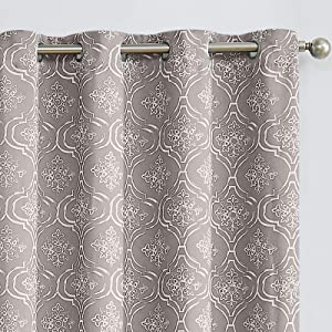 JINCHAN Blackout Curtains for Bedroom Moroccan Tile Print Trellis Floral Quatrefoil Living Room Darkening Curtains Thermal Insulated Drapes 2 Panels 95 inch Grey