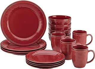 Rachael Ray Cucina Dinnerware 16-Piece Stoneware Dinnerware Set, Cranberry Red