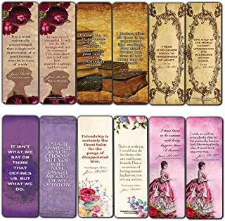Jane Austen Collection Bookmark Cards (60-Pack) - Vintage Classics Book Quotes - Pride and Prejudice Love Friendship - Bookish Literary Gifts for Women Teens Girls Kids
