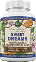 Sweet Dreams by Herbalist's Best | Natural Sleep Aid Herbal Supplement with Valerian Root Ashwagandha Lemon Balm Passion F...