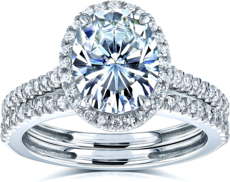 Kobelli Oval Moissanite Halo Bridal Rings Set Max 72% OFF 3 2 Whit 14k 8 Genuine CTW
