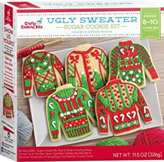 Ugly Sweater Sugar Cookie Kit - Crafty Cooking Kits - Makes 8 to 10 Cookies - Includes Read and Green Frosting Mixes, Cand...