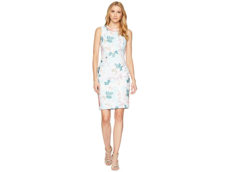 Calvin Klein Printed Sheath w/ Pearls At Neck (Seaspray Multi) Women