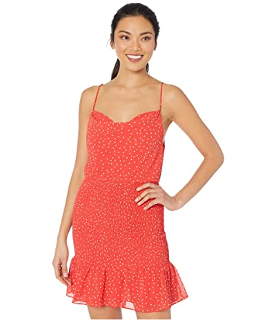 American Rose Merritt Polka Dot Smocked Dress (Red/White) Women