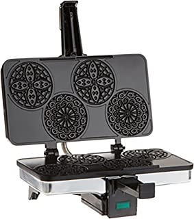 CucinaPro Mini Italian Pizzelle Waffle Maker Iron - Makes Four 3 1/4 Inch Pizzelle Traditional Cookies - Black Non-Stick Interior