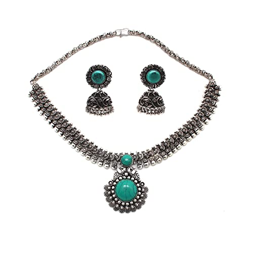 072b28cd6ef Anigalan - Stone Choker Oxidized German Silver Necklace with Jhumki for  Women and Girls