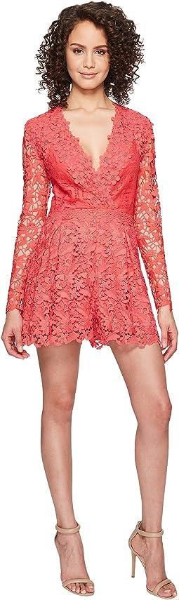 Azelle Long Sleeve Crochet Lace Romper