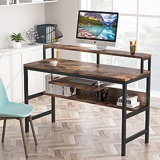 Tribesigns Bureau d'ordinateur avec plateau pour clavier et étagère pour moniteur pour la maison, le bureau, l'écriture et...