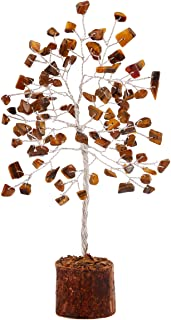 FASHIONZAADI Tiger Eye Feng Shui Bonsai Money Tree Healing Crystals Gemstone Trees Reiki Stone Good Luck Chakra Crystal Ho...