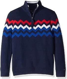 Boys' Adaptive Half Zip Sweater with Extended Collar Zipper