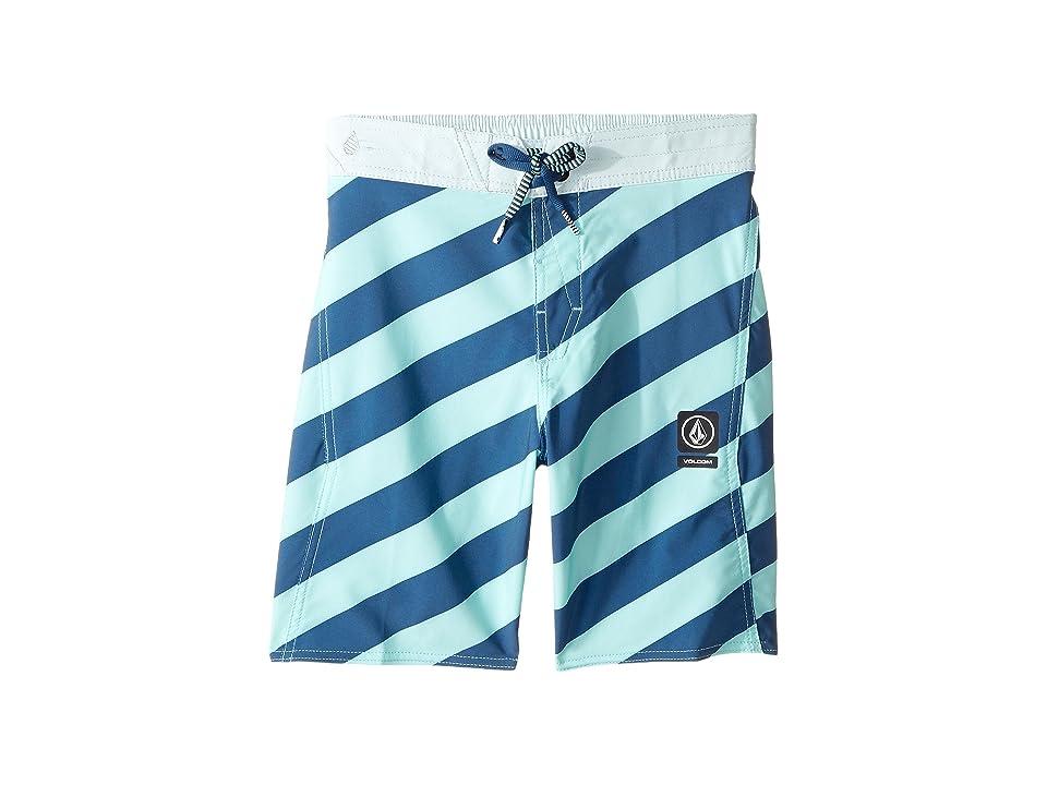 Volcom Kids Stripey Elastic Boardshorts (Little Kids/Big Kids) (Ice Green) Boy's Swimwear