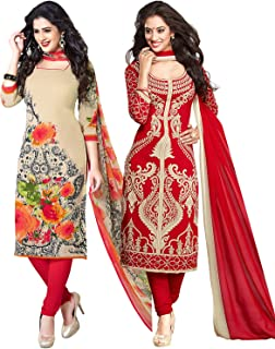 Ishin Combo of 2 Synthetic Multicolor Printed Unstitched Salwar Suit Dress Material With Dupatta
