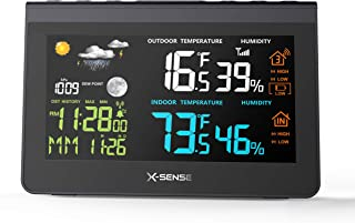 X-Sense Wireless Weather Station Forecast Station with 500 ft Wireless Range, Large Backlit Color LCD, Atomic Clock, Accurate Temperature, Humidity, and Temperature/Time Alert