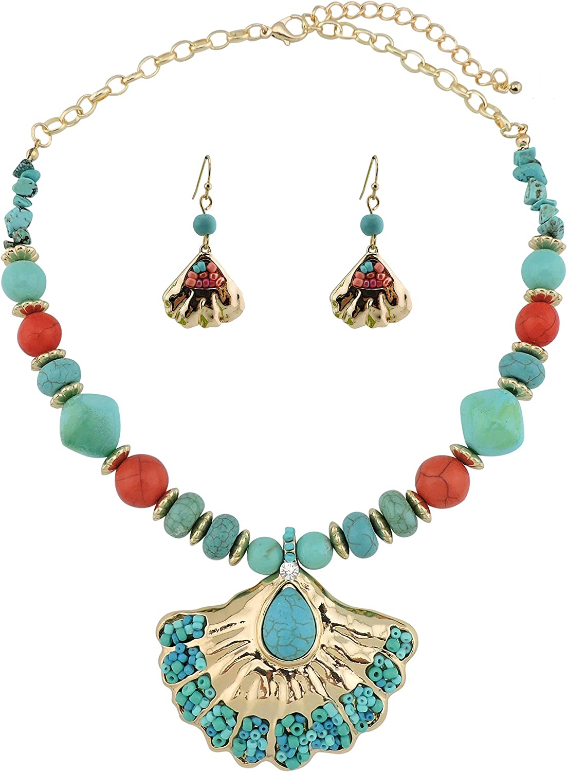 COIRIS Turquoise Beads Necklace Earring with Sea Shell Pendant Fashion Collar jewelry Set (N0056)
