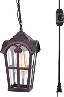 Stepeak Plug-in Outdoor Pendant Light,Dimmable Hanging Glass Lantern Oil Rubbed Finish Porch Light for Gazebo Corridor Patio, 16.4' Cord Dimmer On/Off Switch