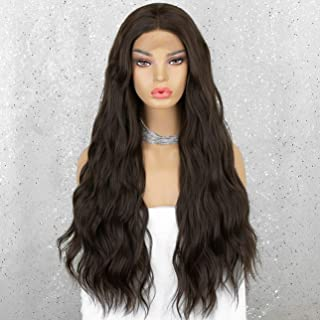 K'ryssma Long Dark Brown Lace Front Wig with Middle Part Glueless Wavy Synthetic Wig 150% Density New Brown Wigs for Women...