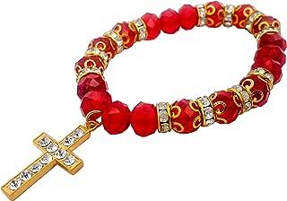 Nazareth Store Crystal Red Rosary Bracelet - Catholic Gift - Cross Bracelet - Crystals Bead Bracelet - Sacred Gift for Teen Girls Jewelry for Women & Men