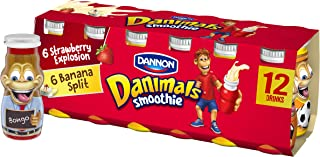 Dannon Danimals Smoothie Lowfat Dairy Drink Variety Pack, Strawberry Explosion & Banana Split, 3.1 Ounce Drinks (Pack of 12)