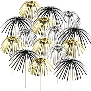 TecUnite 100 Pieces Foil Frill Firework Cupcake Picks Christmas Cupcake Topper 9 Inch Coconut Tree Shape, Food Picks Supplies Party Decoration (Black, Gold, Silver)