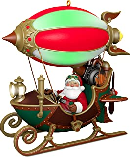 Hallmark Christmas Ornament 2018 Year Dated Santa Sleigh Flight of Fancy With Light,