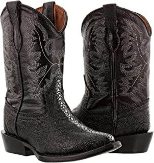 Veretta Boots - Kid's Toddler Black Stingray Print Leather Cowboy Boots J Toe