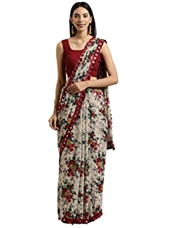 Womanista Women's georgette with blouse piece 7510 Sarees (TKIM812_ Off White & Red_ Free Size)