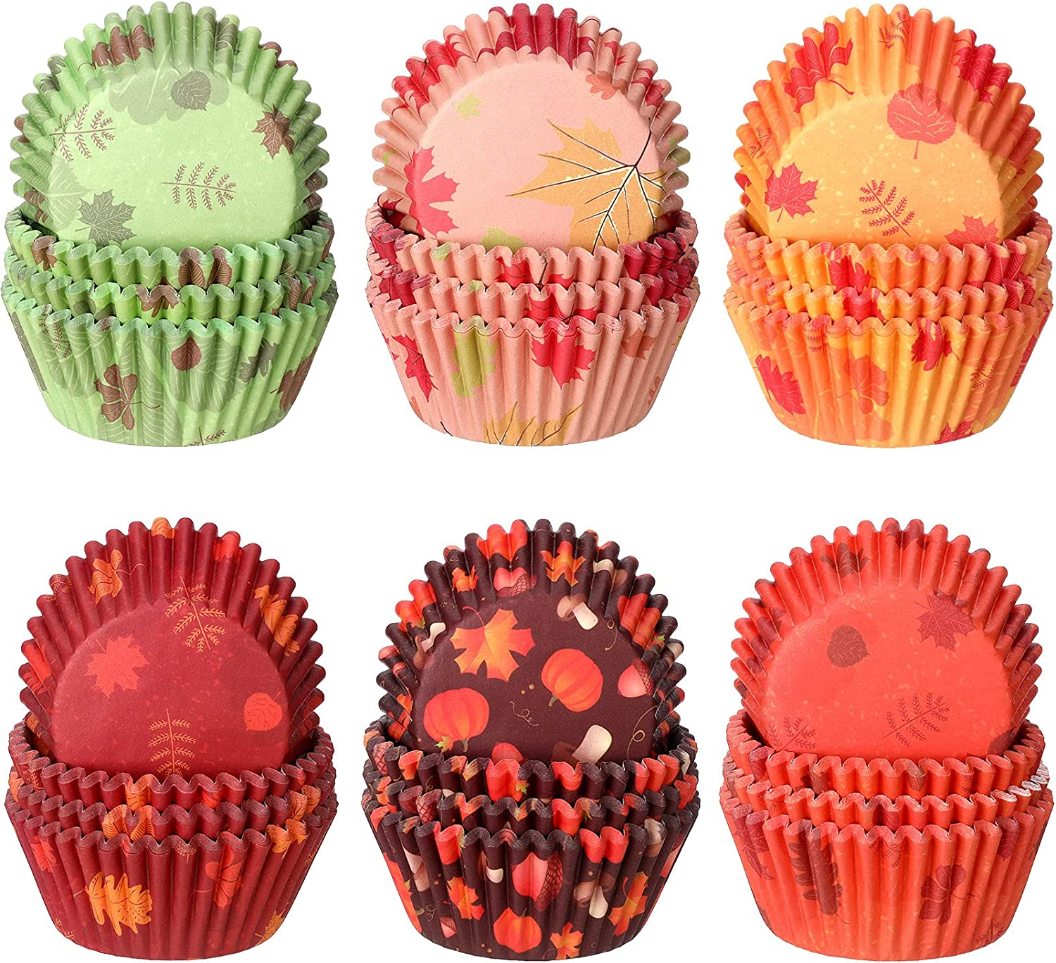 600 Pieces Thanksgiving Cupcake Liners Pumpkin Maple Leaf Cupcake Baking Cups Autumn Thanksgiving Muffin Liners Paper Baking Cups for Home Baking Fall Themed Liners Party Supplies (Classic Styles)