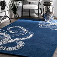 nuLOOM Octopus Tail Abstract Wool Rug, 5' x 8', Navy
