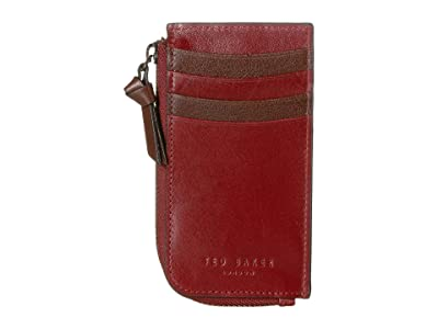 Ted Baker Bombay Leather Zip-Up Card Holder (Red) Credit card Wallet