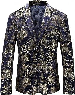 302d802186d8 WULFUL Men's Luxury Casual Dress Floral Suit Notched Lapel Slim Fit Stylish Blazer  Jacket Party Coats