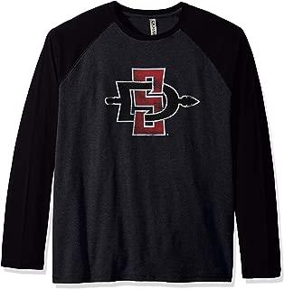 Ouray Sportswear NCAA San Diego State Aztecs Men's Baseball Long Sleeve, Black Heather/Black, Small