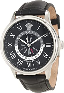 Versace Men's 30A99D008 S009 Business Dual Time Black Dial Black Leather Date Watch