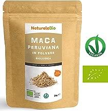Maca Peruviana Biologica in Polvere [ Gelatinizzata ] 1 kg   100% Naturale e Pura, Prodotto in Perù, Estratto dalla Radice di Maca Bio   NATURALEBIO
