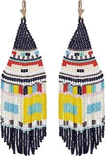 El Allure Seed Bead Native American Style Inspired Boho Patterned Fringe Trendy Handmade Preciosa Jablonex Seed Beaded Long Earring For Women
