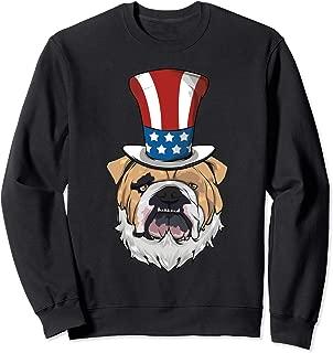 English Bulldog Uncle Sam Hat Lincoln Beard 4th Of July Boys Sweatshirt