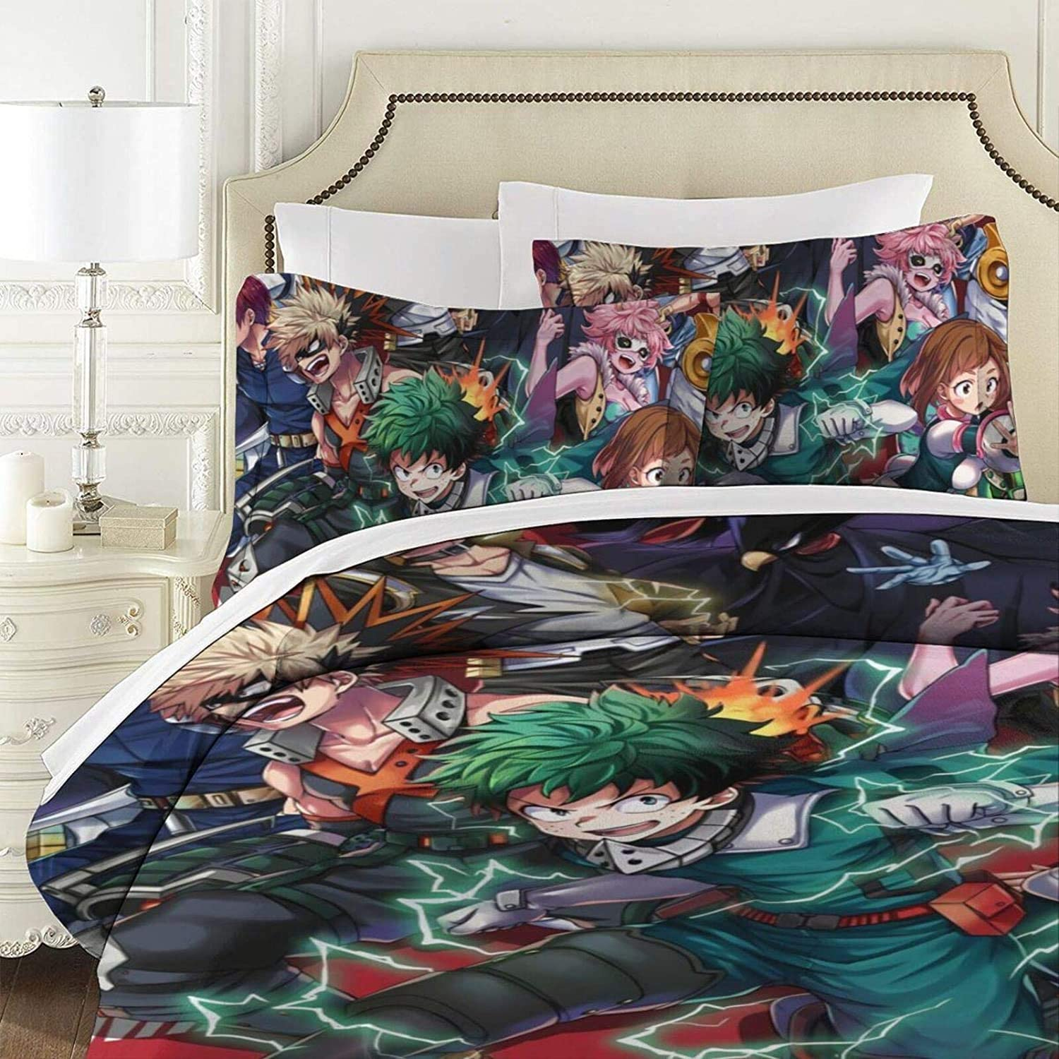 No Comforter ZYLD My Hero Academia Bed Set Twin Size 3D Anime Bedding Sets 3pcs Duvet Cover Set for Boys Child Teens Girls 1 Quilt Cover 2 Pillowcases