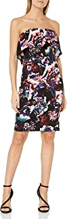 bebe Women's Floral Printed Strapless Crepe Dress with Popover
