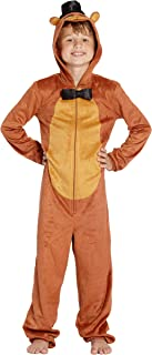 Five Nights at Freddys Boys Freddy Fazbear Costume One Piece Pajamas Union Suit (Brown, LG)