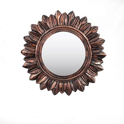 Wooden Handmade Frame Wall Mirror, Large Rustic Farmhouse Mirror Decor, Vertical or Horizontal Hanging, for Bathroom Vanity, Living Room or Bedroom (Antique Copper, Sunburst)