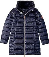 Shiny Iridescent Long Coat with Faux Fur (Little Kid/Big Kid)