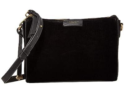Radley London Selby Street Velvet Small Crossbody Clutch (Black) Clutch Handbags