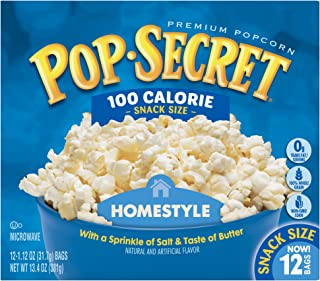 Pop Secret Snack Size 100 Calorie Homestyle Microwavable Popcorn, 13.4 Ounce, 12 Ct