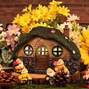 Fairy Garden House Miniatures Statue, Outdoor Fairy House Figurine with LED Solar Lights, Resin Garden Cottage Figurines for Home or Yard Decor